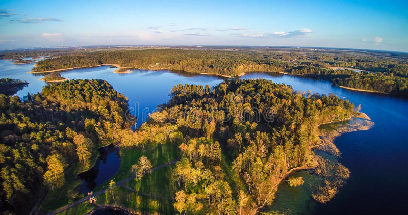 Lake and forest aerial stock image