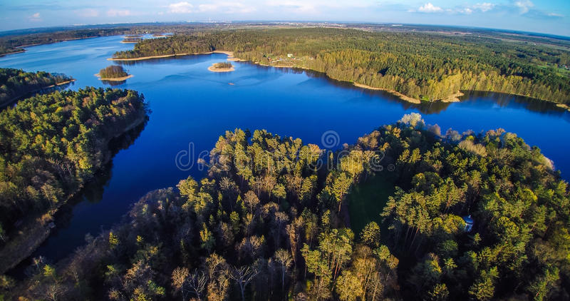 Lake and forest aerial royalty free stock photo