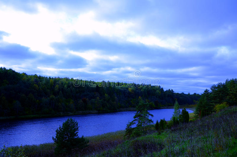 Lake and forest. stock photo