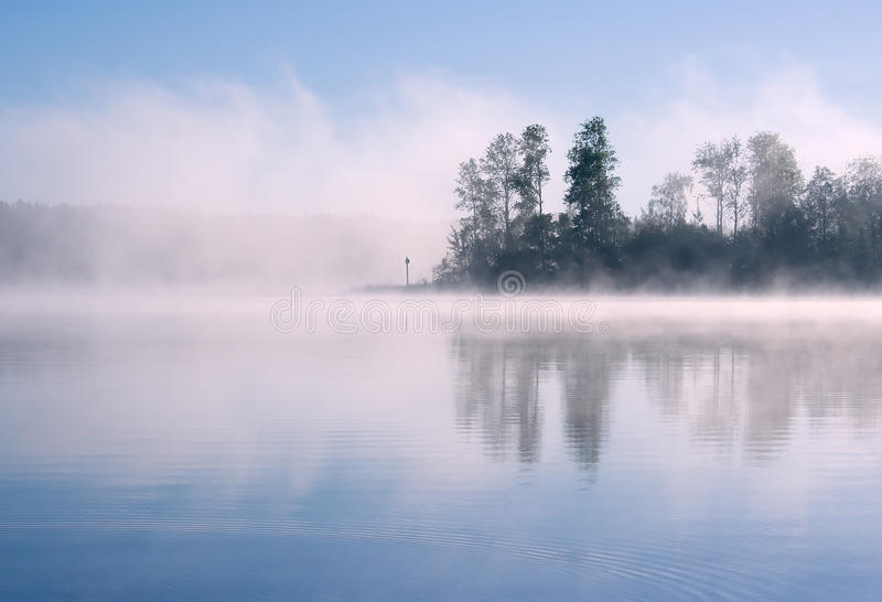 Lake Seliger: forest fog royalty free stock photography