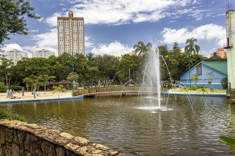 Lake with fountain in Park Santos Dumont, Sao Jose dos Campos, Brazil stock photos