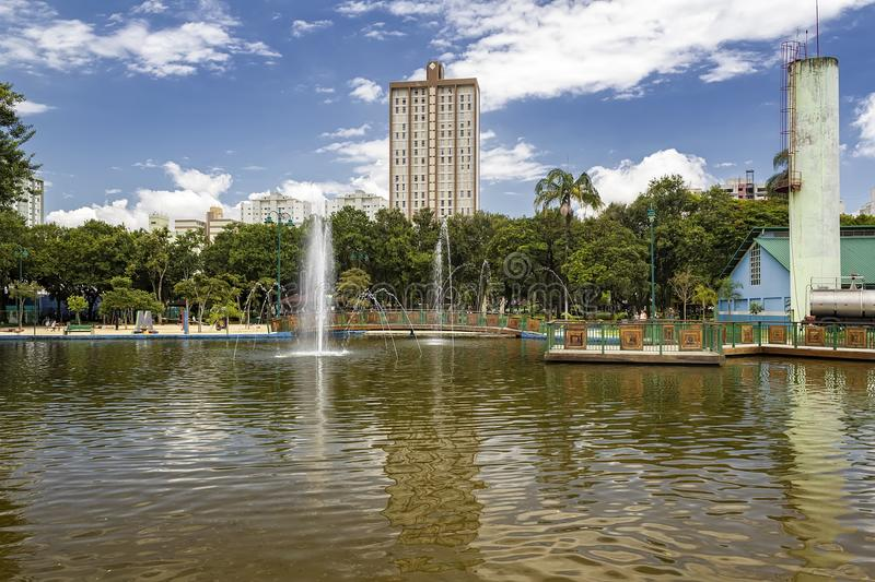Lake with fountain in Park Santos Dumont, Sao Jose dos Campos, Brazil royalty free stock photo