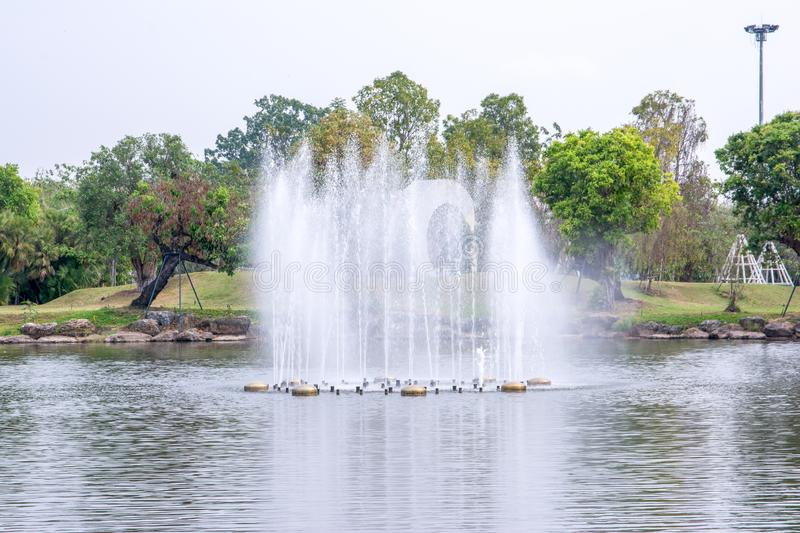 Lake fountain in the Royal flora garden Chiangmai, Thailand. Lake fountain in the Royal flora garden in Chiangmai, Thailand royalty free stock image