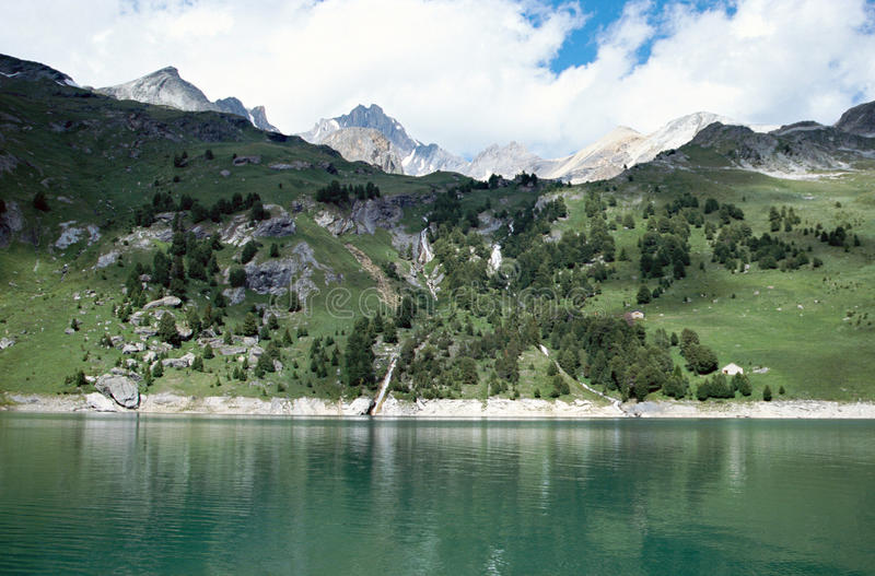 Lake in french alps mountains of Vanoise, France royalty free stock photography