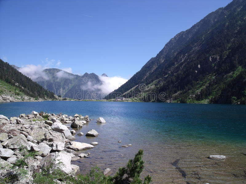 Lake in french mountain stock photography