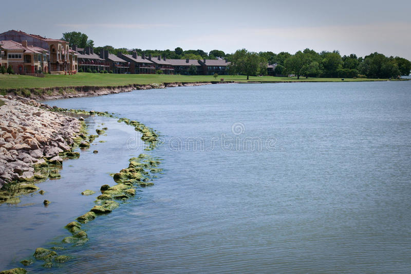 Lake front with Condos and Apartments royalty free stock photos