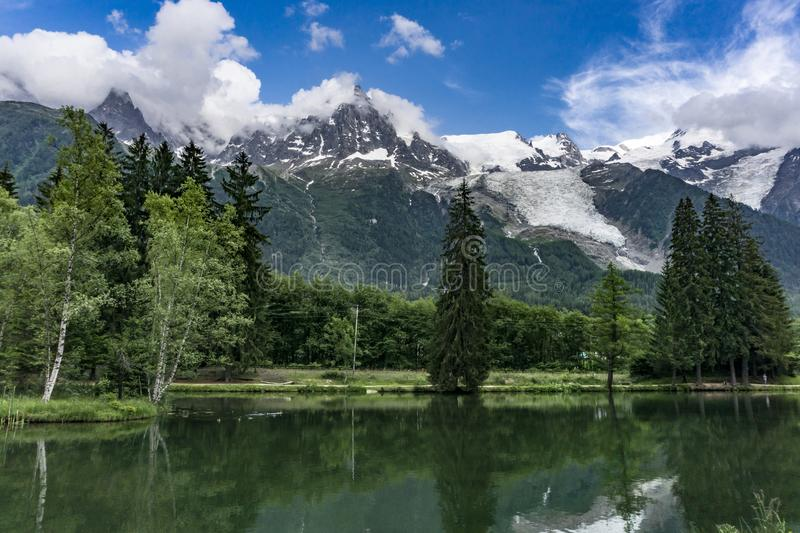 Lake Gaillands with a view of the Mont Blanc. Chamonix. France. stock photography