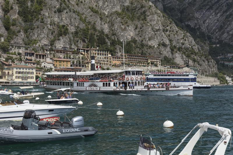 Lake Garda, Italy, Europe, August 2019, A view of the paddle steamer Italia stock photos