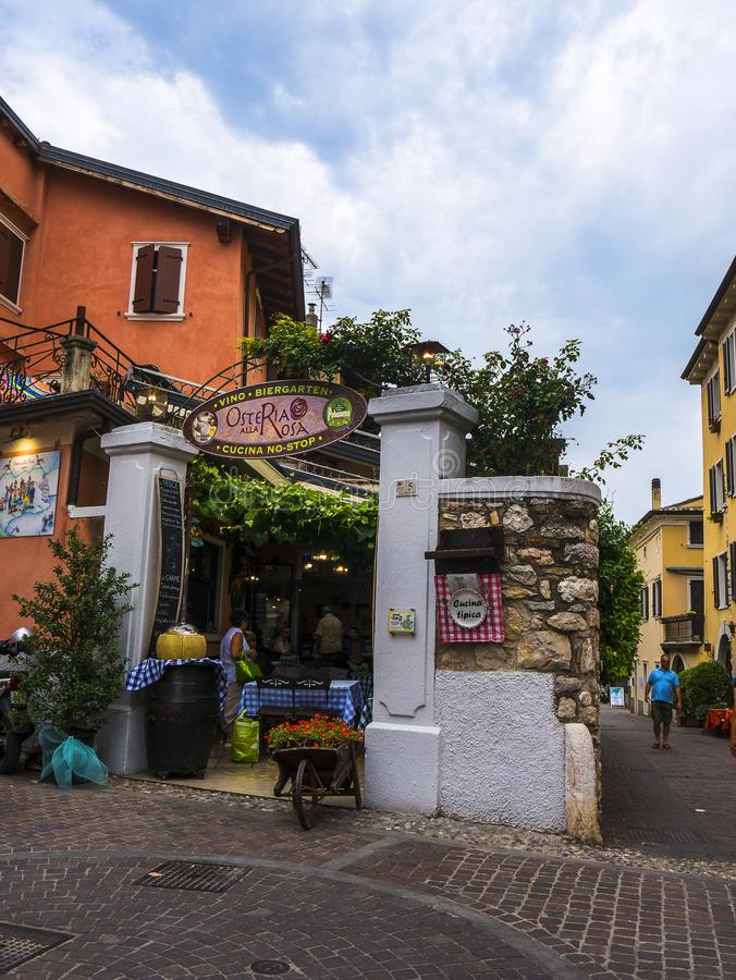 The lovely town of Malcesine on Lake Garda where is famous castle guards the entrance to its harbour.Malcesine is so s. Lake Garda is a popular European tourist stock images