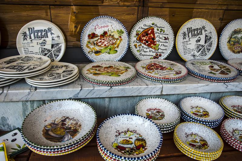 Pottery in the lovely town of Malcesine on Lake Garda where is famous castle guards the entrance to its harbour. Lake Garda is a popular European tourist stock photos