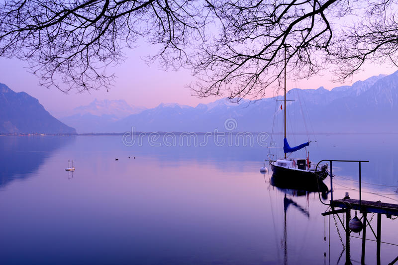 Lake Geneva at dusk stock images