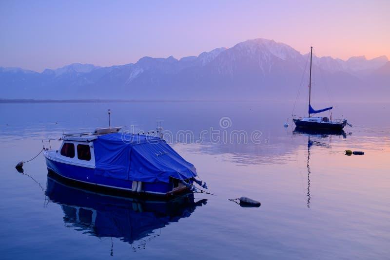 Lake Geneva at dusk royalty free stock photo