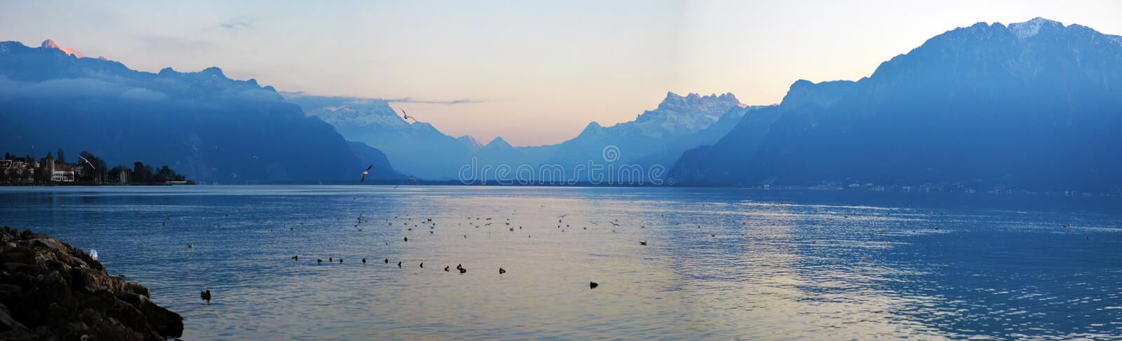 Lake Geneva in the evening stock photography