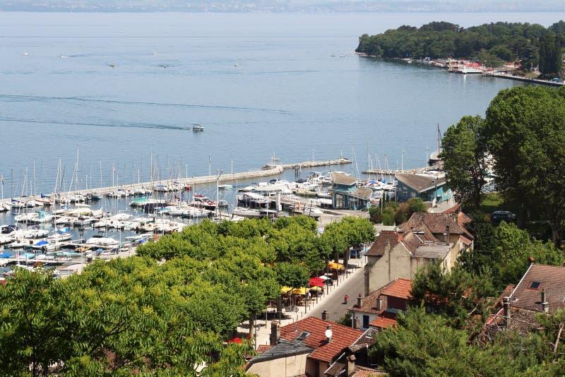 Lake Geneva and fishery Port de Rives, Thonon-les-Bains, France royalty free stock images