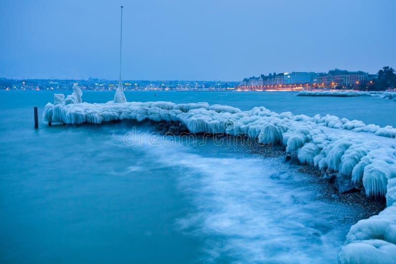 Download Lake Geneva Frozen Icy Jetty Editorial Photo - Image: 23330696