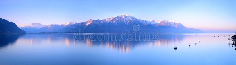 Lake Geneva of Montreux at sunrise stock image