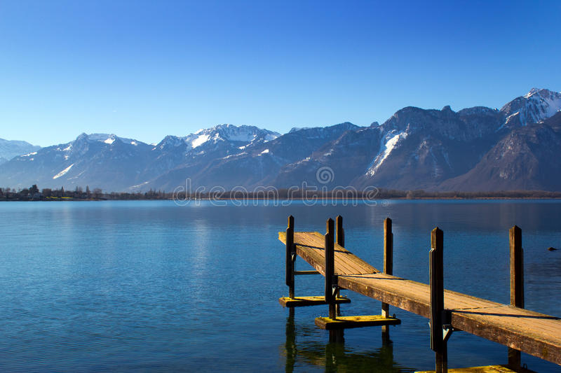 Geneva Lake And Aravis Alps, Montreux, Switzerland Stock