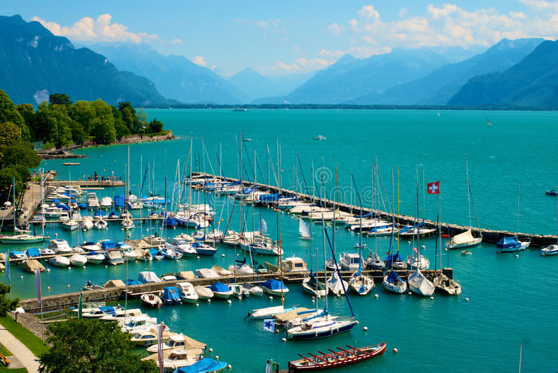 Lake Geneva Port royalty free stock photography