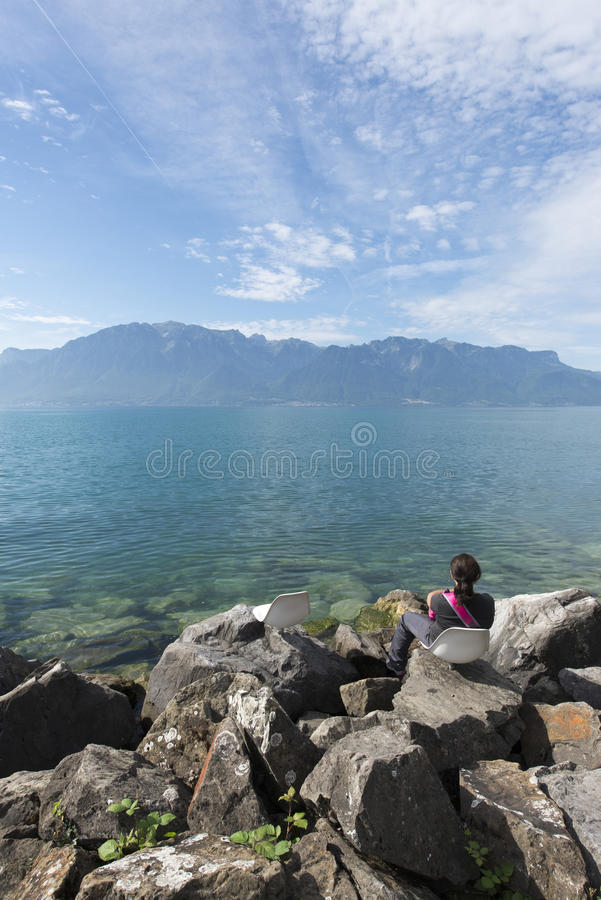 Lake Geneva seen from Vevey royalty free stock images