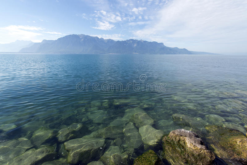 Lake Geneva seen from Vevey stock photos