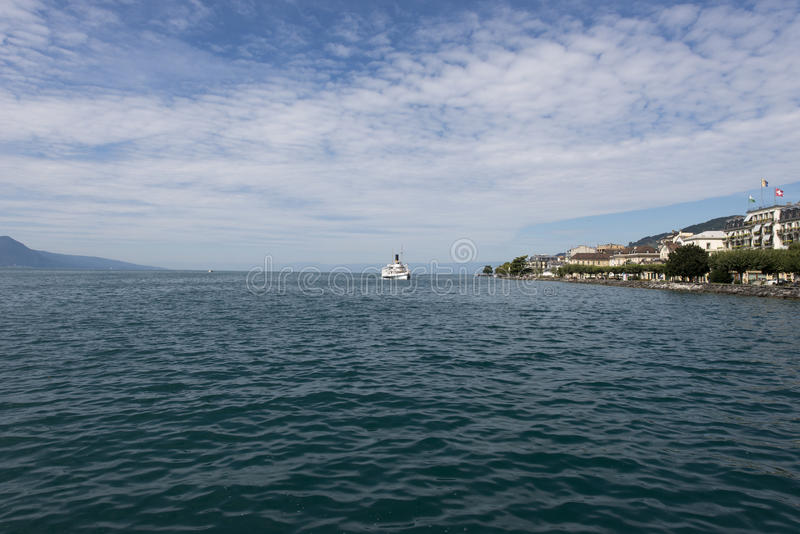 Lake Geneva seen from Vevey stock photography