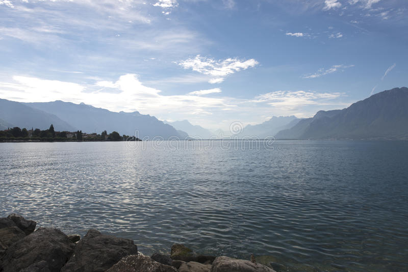 Lake Geneva seen from Vevey royalty free stock photography