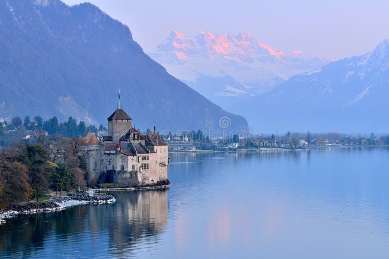 Lake Geneva at sunset royalty free stock image