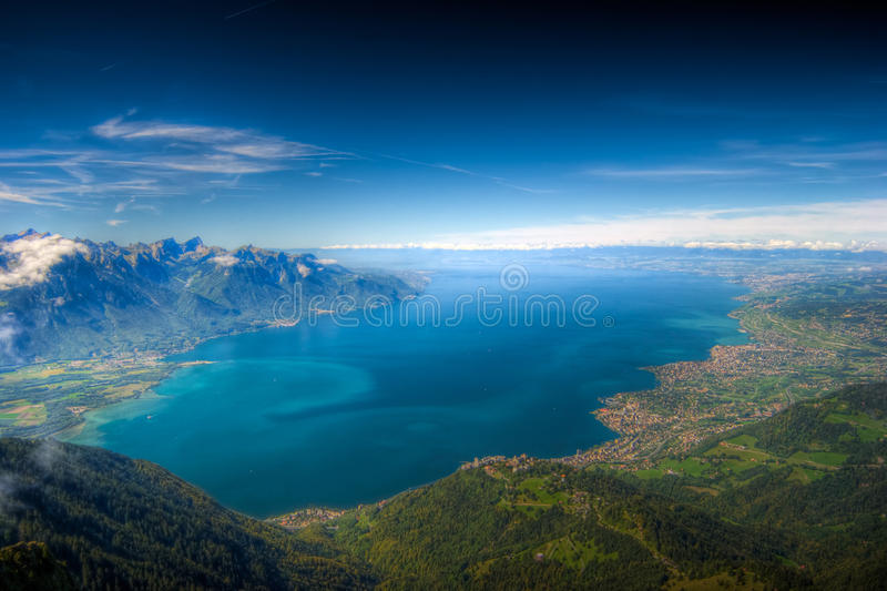 Lake Geneva, Switzerland, HDR Background. Spectacular View over lake Geneva (Lac Leman) taken from the tip of Rochers de Naye
