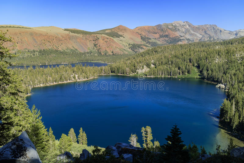 Lake George and Lake Marry. Aerial view of Lake George and Lake Marry in Mammoth Lake stock photography