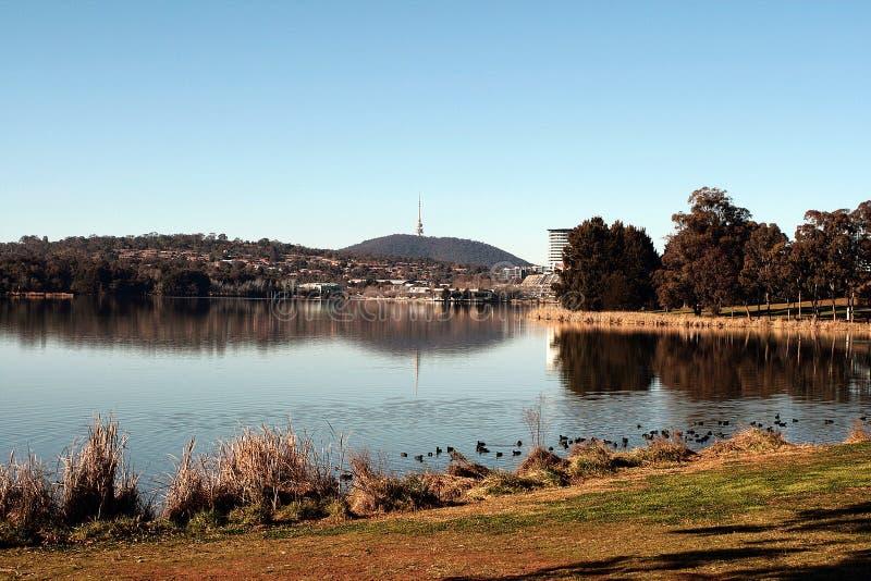 Lake Ginninderra Belconnen Canberra Australia. Black mountain tower royalty free stock photography