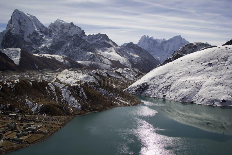 Lake Gokyo in Himalayas, Nepal royalty free stock images