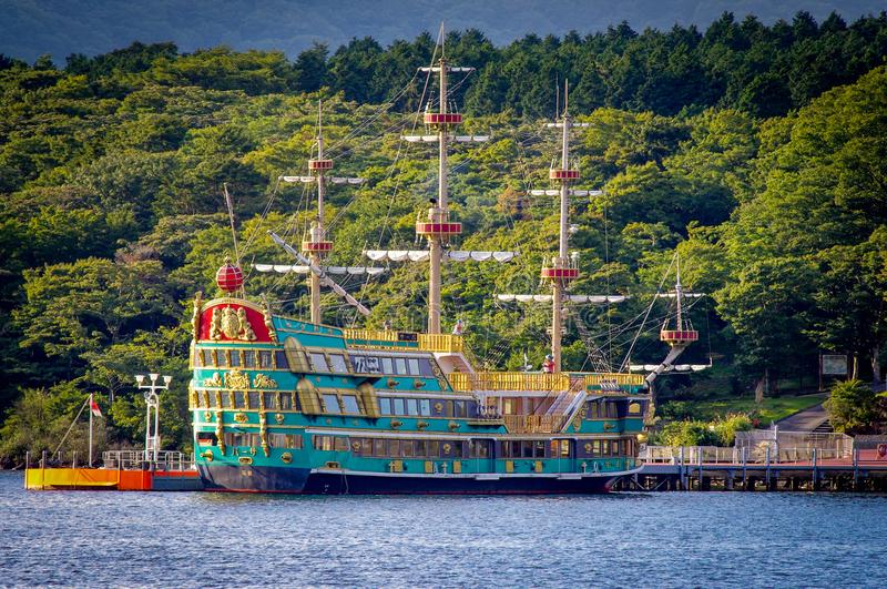 Lake Hakone Pirate Ship Boat Japan stock photos