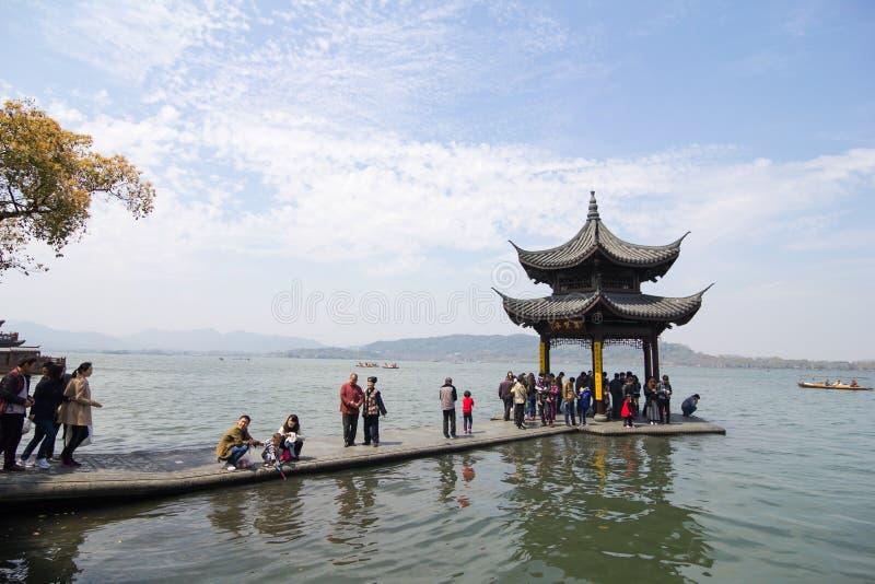 lake hangzhou zachód obraz royalty free