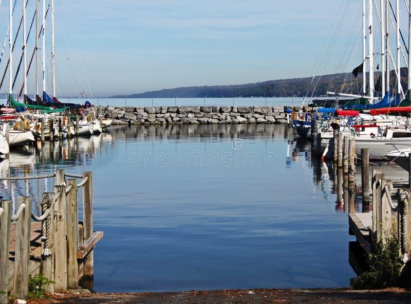 Lake Harbor. Boats docked at Seneca Lake Harbor in New York stock images