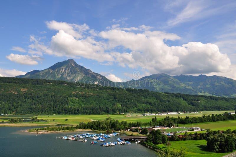 Lake harbour under Stanserhorn peak, Switzerland royalty free stock images