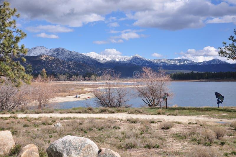 Lake Hemet, California. A view of Lake Hemet on Mount San Jacinto in Southern California during the winter months stock images