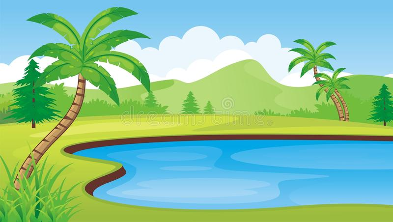 Lake on the hill. With mountain background, coconut tree, and other beautiful landscape theme vector illustration