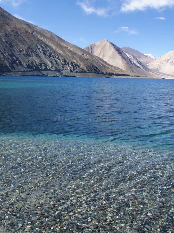 Lake in Himalaya mountains. Pangong tso lake against Himalaya mountains royalty free stock photos