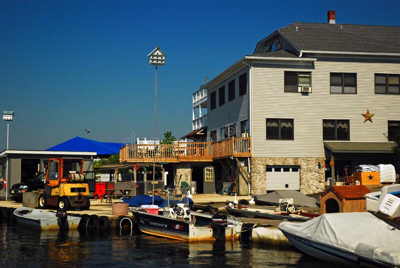 Lake Hopatcong Marina. A marina in Lake Hopatcong New Jersey offers repairs and other boating services stock image