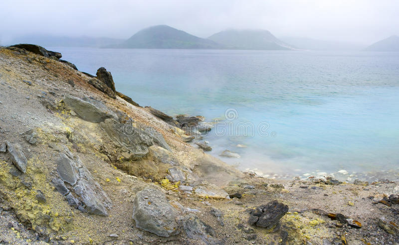 Lake Hot vulcan Golovnina. Island Kunashir royalty free stock photography