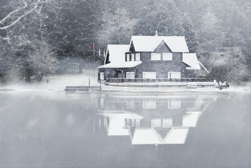 Lake house in Abant lake royalty free stock photography