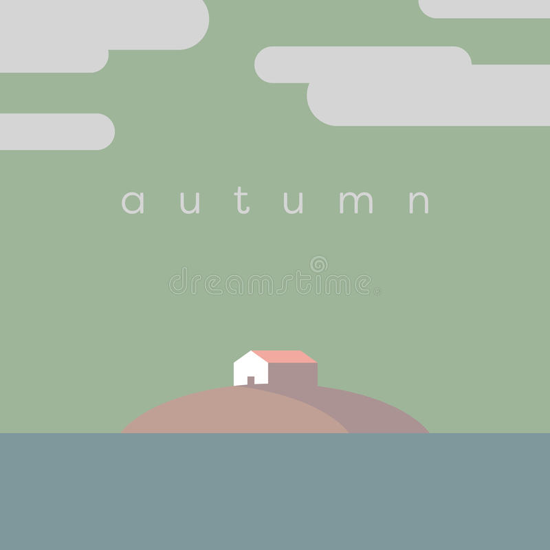 Lake house on the island vector illustration. Autumn or fall colors palette. Eps10 vector illustration royalty free illustration