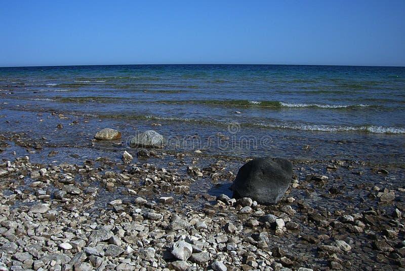 Lake Huron Rocky Beach arkivfoto