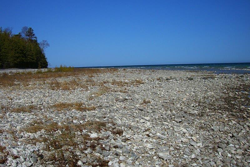 Lake Huron Rocky Beach royaltyfri foto
