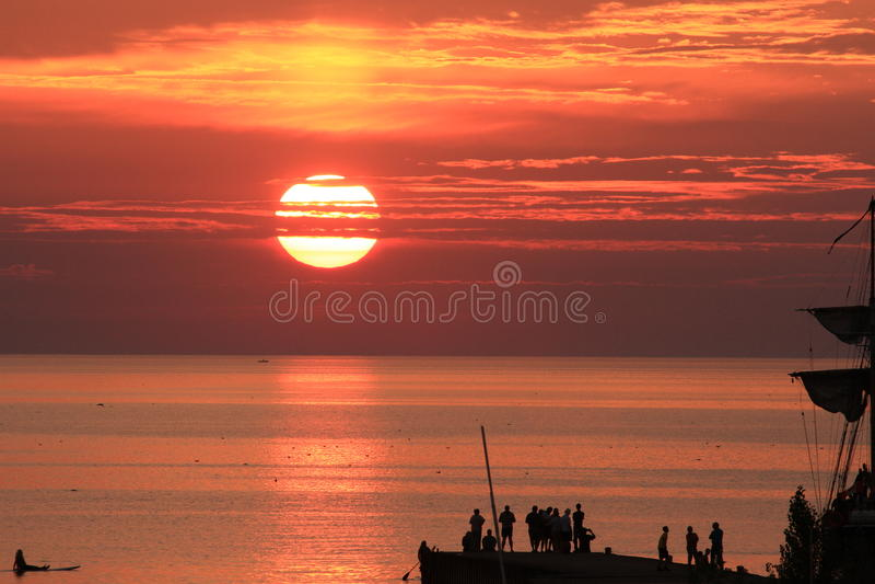 Lake Huron Sun set royalty free stock photography