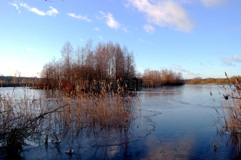Lake i vinter första is arkivbild