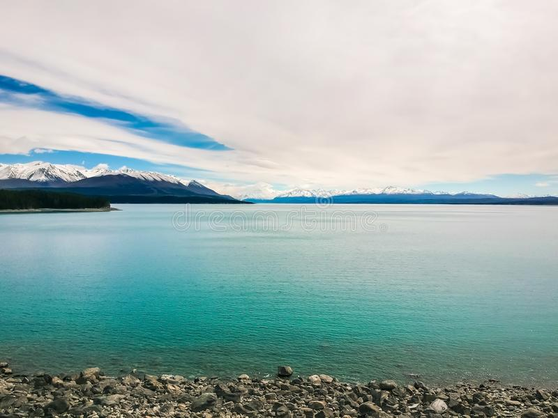 Lake and the iceberg in New Zealand. stock photo