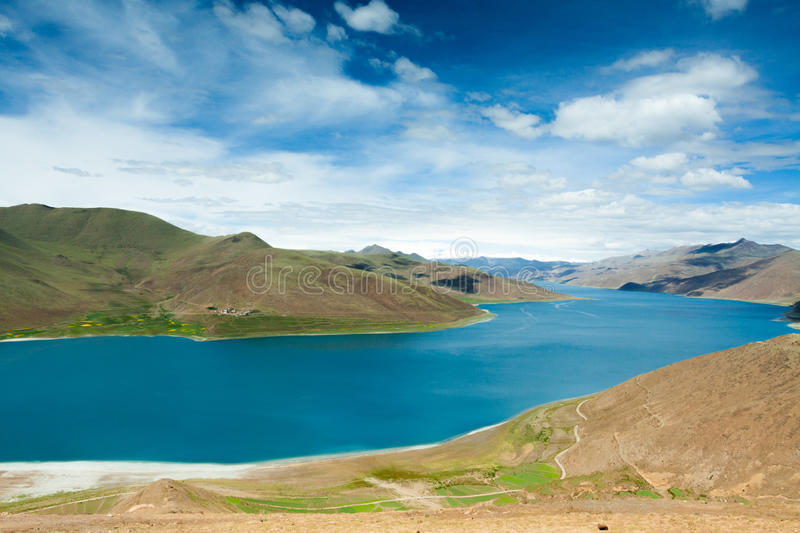 Lake inside mountain in Tibet stock photography