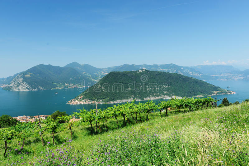 Lake Iseo in Brescia, Italy. Islets in blue waters of Lake Iseo in Brescia, Italy royalty free stock images