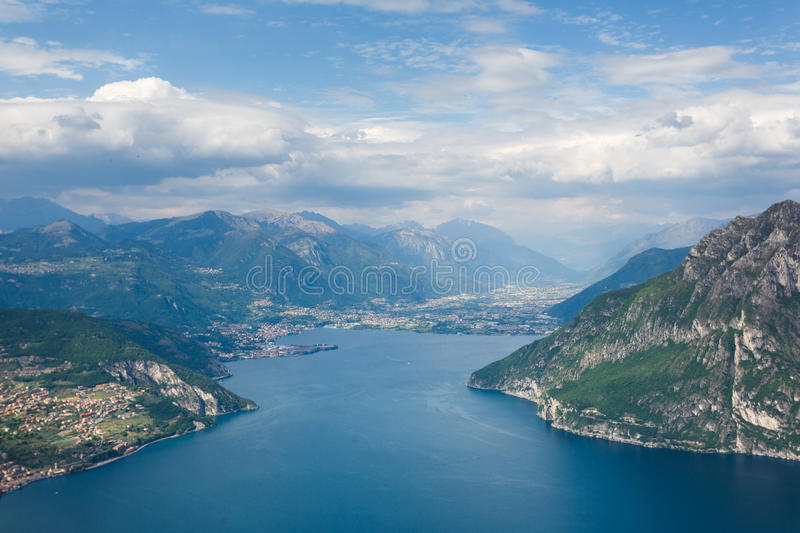 Lake Iseo, Italy. Landscape of Lake Iseo from aerial view, North Italy stock photo